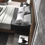 Cabecero y mesillas de dormitorio 11a-0028 color gris y roble vista de detalle