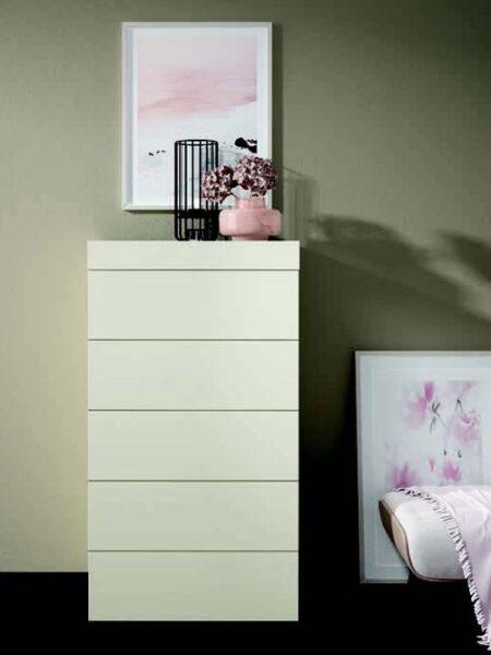 Cómoda de dormitorio de matrimonio 10a-0010 color blanco vista frontal