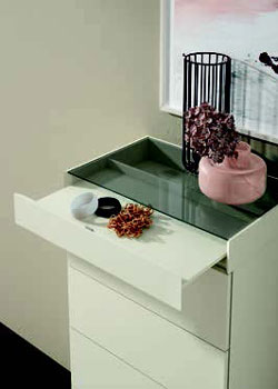 Cajón de cómoda de dormitorio de matrimonio 11a-0010 color blanco vista de detalle