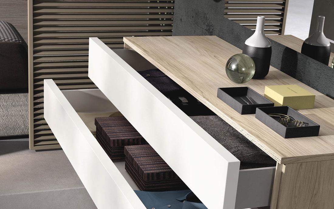 Cómoda de dormitorio 11a-0021 color blanco y madera vista de detalle