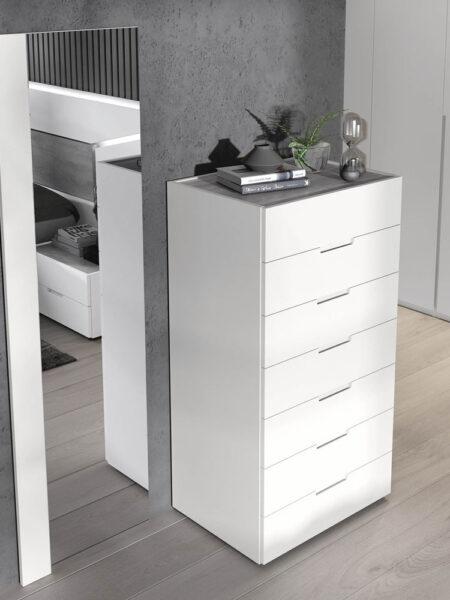 Cómoda de dormitorio 11a-0023 color blanco y gris vista de detalle