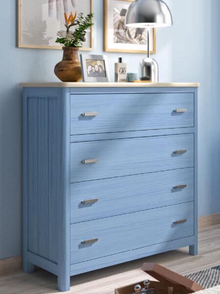 Cómoda de dormitorio 11a-0032 color azul vista de detalle