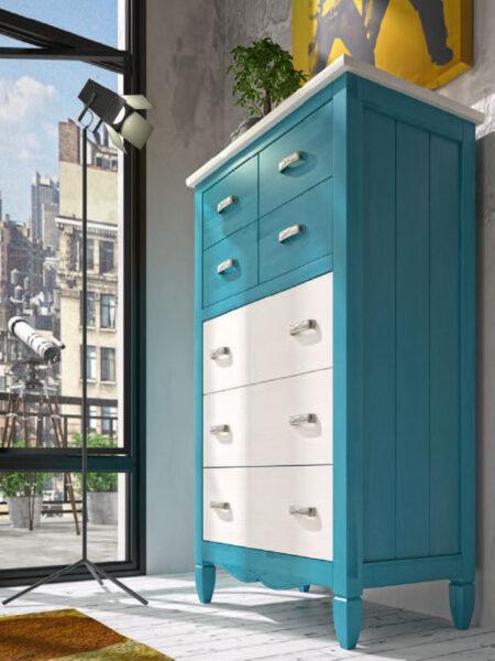 Cómoda de dormitorio de matrimonio 11a-0040 color blanco y azul vista de detalle