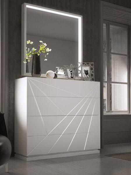 Detalle de cómoda con esjejo 11a-0079 color blanco con detalles geométricos y luces
