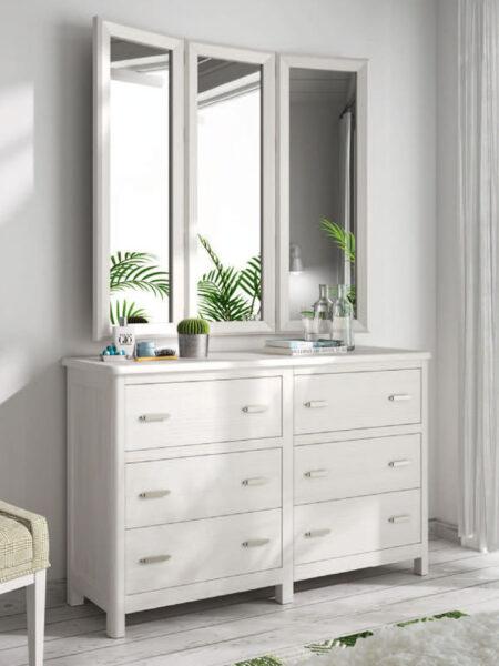 Cómoda con espejo de dormitorio 11a-0031 color blanco vista de detalle