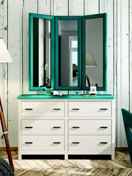 Cómoda y espejo de dormitorio 11a-0033 color azul y blanco vista general