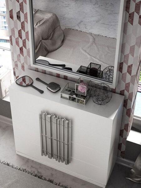 Cómoda y espejo de dormitorio 11a-0080 color blanco y plateado vista de detalle