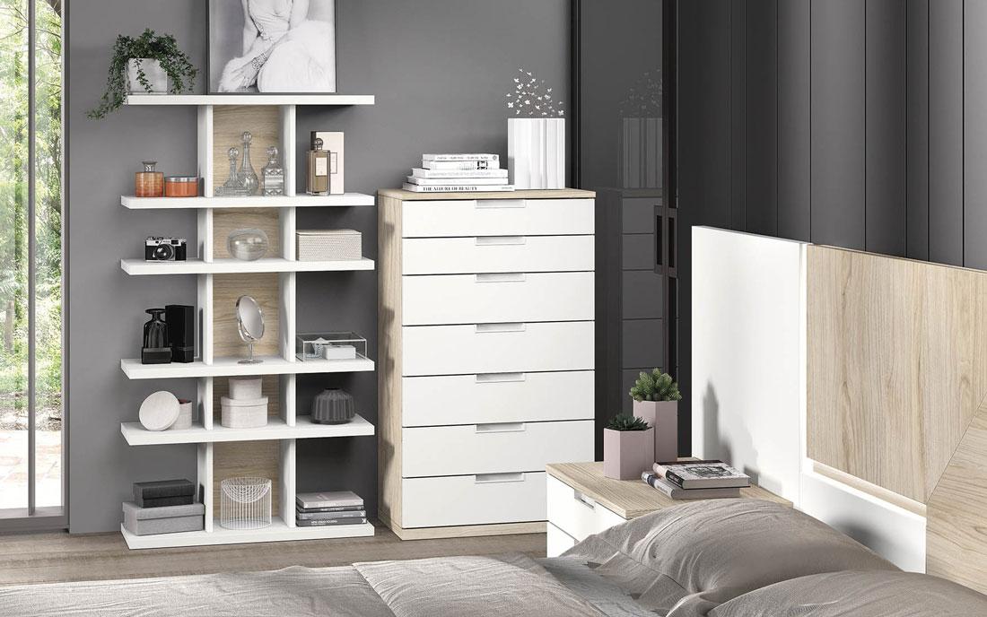 Cómoda y estantería de dormitorio de matrimonio 11a-0020 color blanco y madera vista de detalle