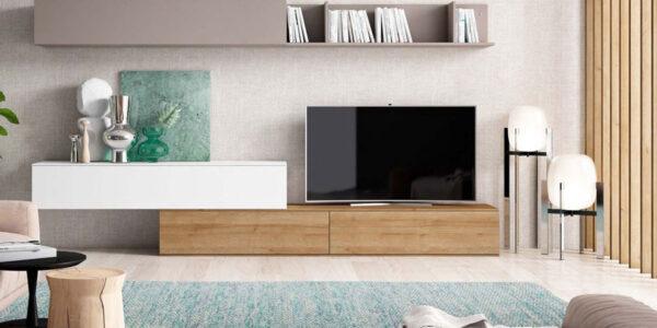 Composición de salón 14b-0001 blanco gris y madera vista completa