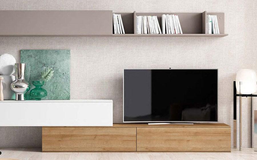 Composición de salón 14b-0001 blanco gris y madera vista de detalle