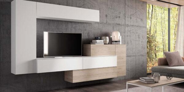 Composición de salón 14b-0003 beige y madera vista completa