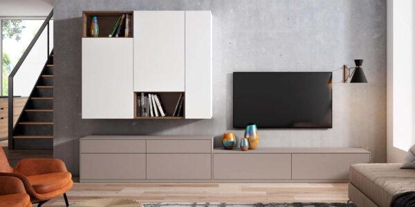 Composición de salón 14b-0004 beige y blanco vista completa frontal
