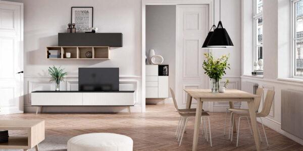Composición de salón 14b-0005 blanco y roble vista completa frontal