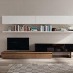 Composición de salón 14b-0009 blanco y roble vista completa