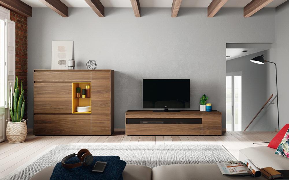 Composición de salón 14b-0010 roble y mostaza vista completa