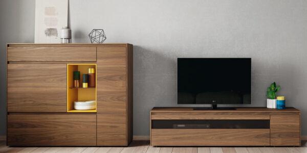 Composición de salón 14b-0010 roble y mostaza vista de detalle