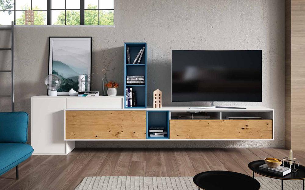 Composición de salón 14b-0012 blanco y roble vista completa