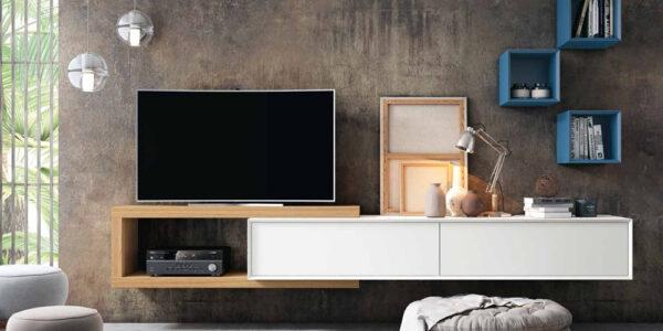 Composición de salón 14b-0013 blanco y roble vista completa