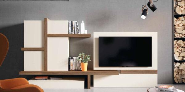 Composición de salón 14b-0015 color blanco y roble vista completa