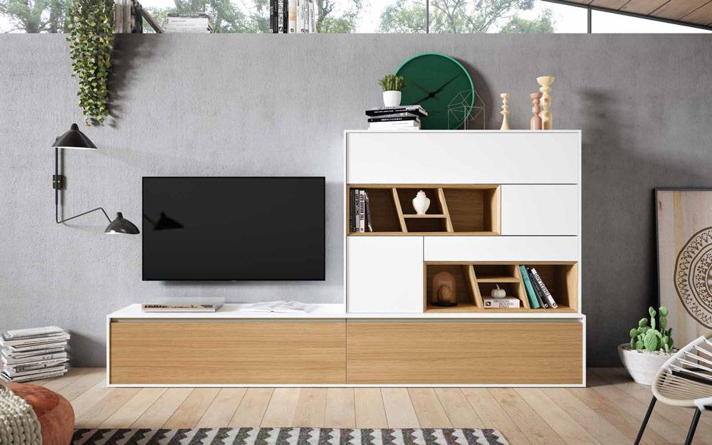 Composición de salón 14b-0016 color blanco y roble vista completa