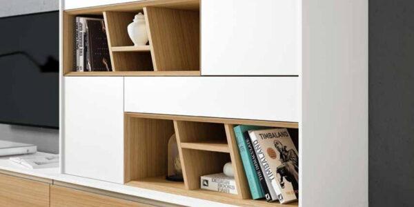 Composición de salón 14b-0016 color blanco y roble vista de detalle