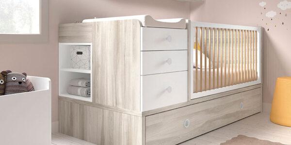 Cuna convertible evolutiva bebé 12i-0001 color blanco y beige vista compelta