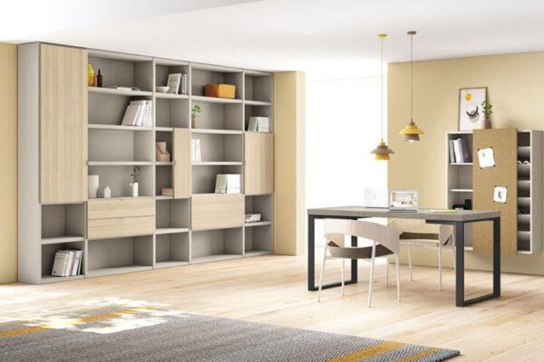 Mobiliario de despacho en casa 13a-0003 color beige y roble vista completa