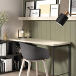 Mobiliario de despacho en casa 13a-0003 color beige y verde vista completa