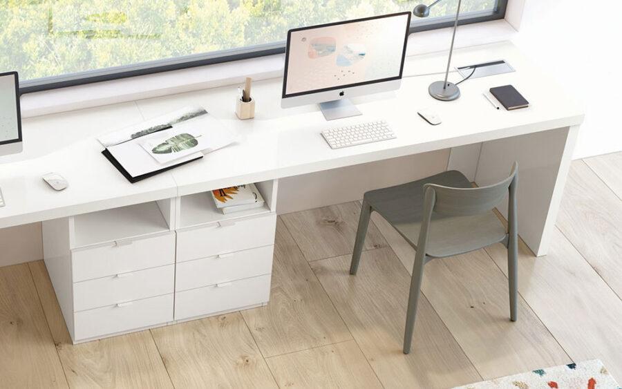 Escritorio de despacho en casa 13a-0003 color blanco vista de detalle