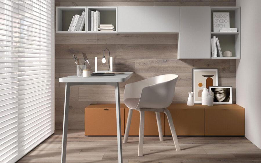 Mobiliario de despacho en casa 13a-0003 color gris y teja vista lateral