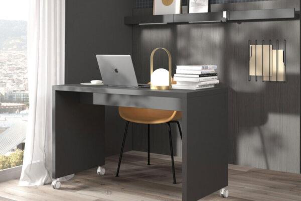 Escritorio ruedas de despacho en casa 13a-0003 color negro vista frontal