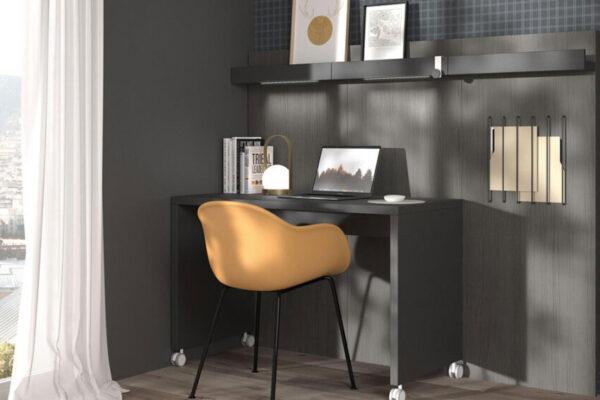 Escritorio con ruedas de despacho en casa 13a-0003 color negro vista frontal