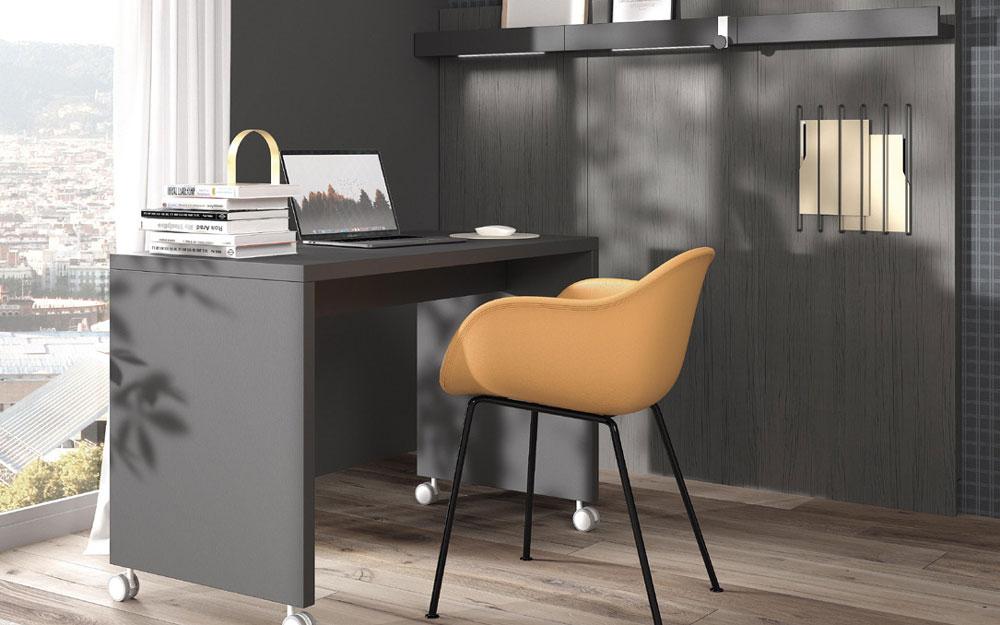 Mobiliario de despacho en casa 13a-0003 color negro vista lateral