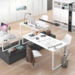 Mobiliario de despacho en casa 13a-0003 color blanco y gris vista general top