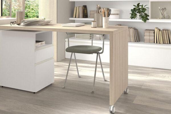 Mobiliario de despacho en casa 13a-0003 color blanco y madera vista frontal
