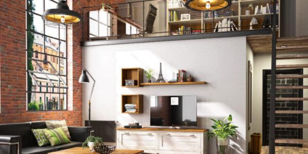 Salón con despacho en casa 13a-0003 roble beige vista general