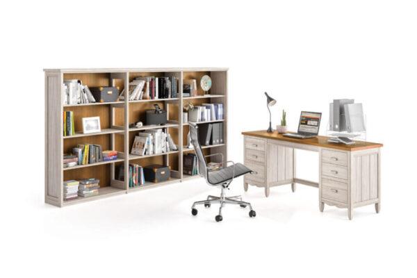 Estantería y escritorio despacho en casa 13a-0003 roble beige vista técnica