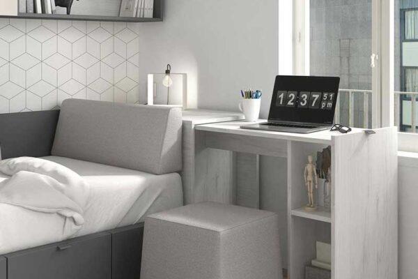 Dormitorio juvenil con cama bloc 12c-0002 color gris pizarra y nevada vista de detalle