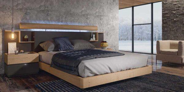 Dormitorio 11a-0017 color negro y roble vista completa