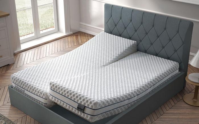 Dormitorio con colchón de núcleo flexible viscoelástico 16ac-0003 vista ambiente de detalle