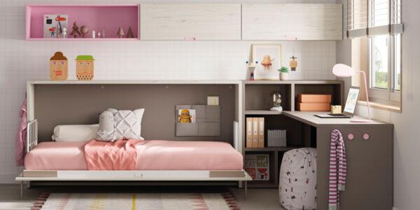 Dormitorio kids con cama abatible horizontal baja 12d-0003 color rosa y blanco vista frontal