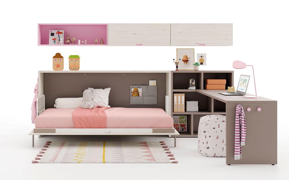 Dormitorio kids con cama abatible horizontal baja 12d-0003 color rosa y blanco vista técnica