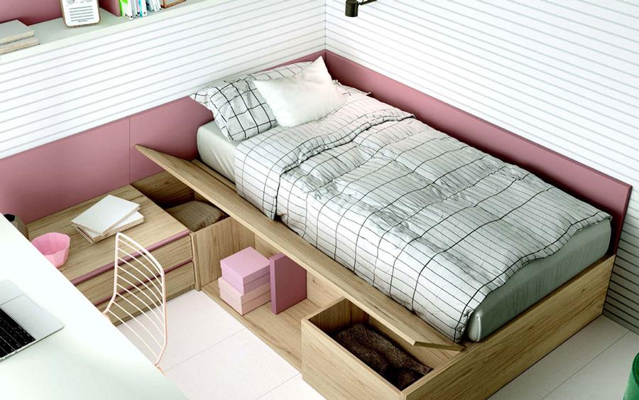 Cama de dormitorio juvenil 12f-0006 color rosa y madera vista completa