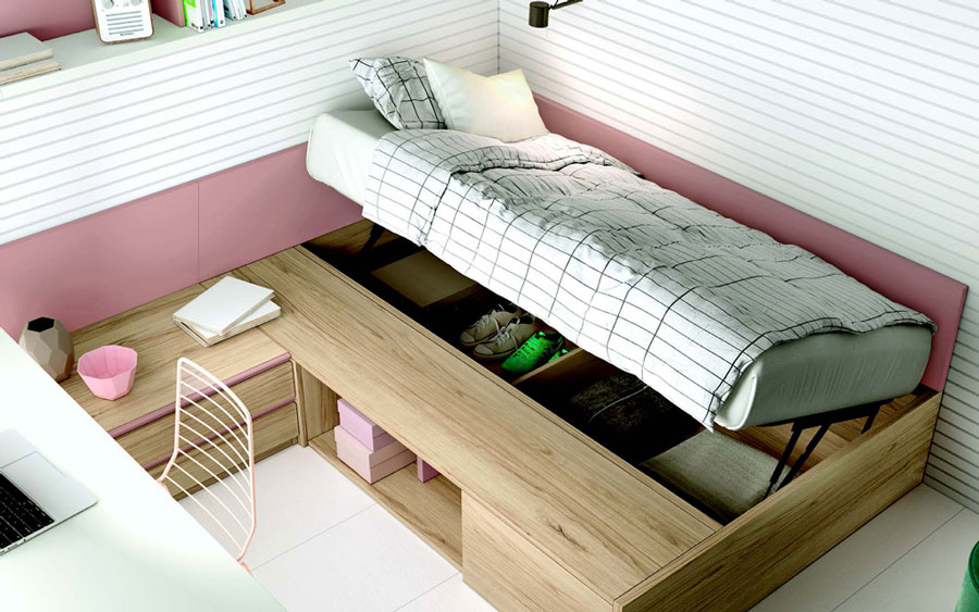 Cama de dormitorio juvenil 12f-0006 color rosa y madera vista detalle canapé