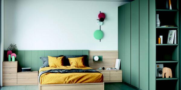 Dormitorio juvenil 12f-0009 color verde y madera vista completa