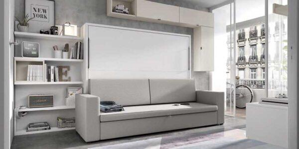 Dormitorio juvenil con cama abatible horizontal alta 12d-0007 color blanco vista completa