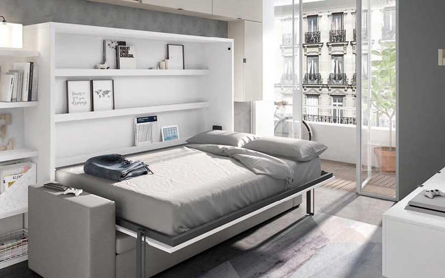 Dormitorio juvenil con cama abatible alta 12d-0007 color blanco vista completa abierta