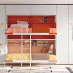 Dormitorio kids con cama abatible doble 12d-0005 color rojo naranja y blanco vista frontal