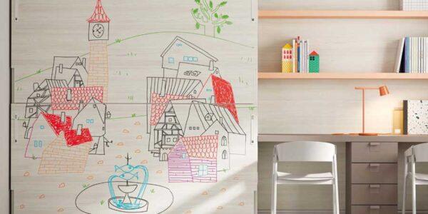 Dormitorio kids con cama abatible doble 12d-0006 color beige y mostaza vista completa frontal pizarra