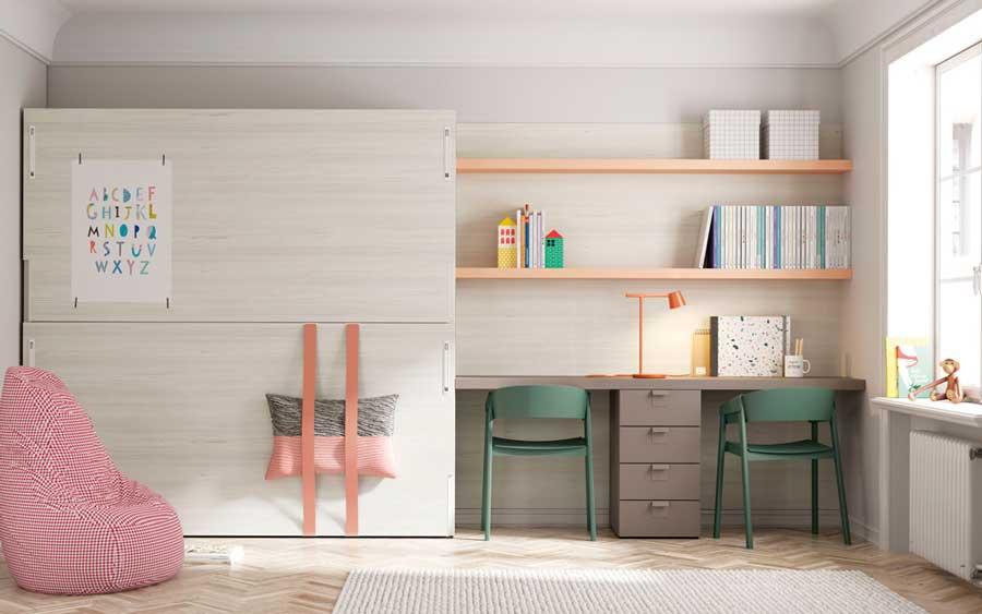 Dormitorio kids con cama abatible doble 12d-0006 color beige y mostaza vista completa frontal